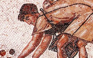 Landarbeiter bei der Olivenernte (Mosaik)